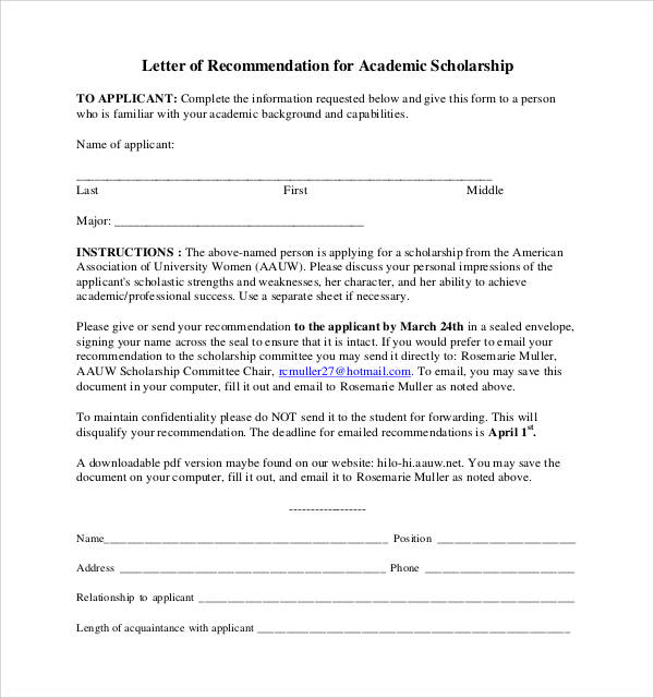 sample application for scholarship letters free