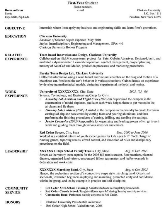 how to write resume for university application