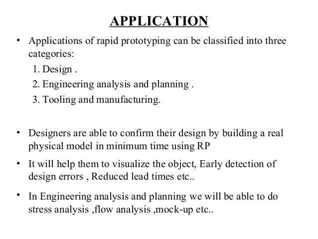 applications of rapid prototyping technology