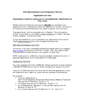 ireland visa application form download