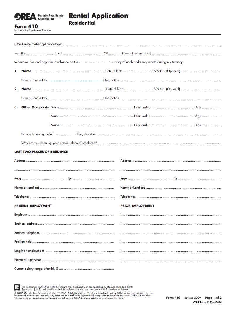 rental application form ontario orea