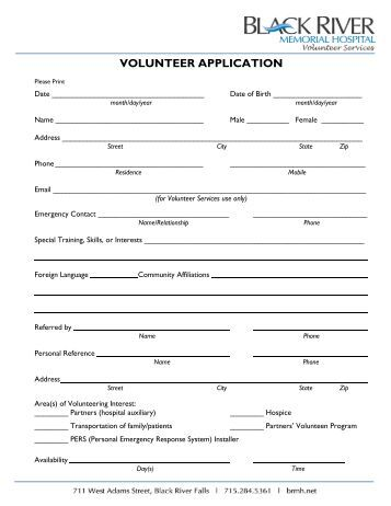 humber river hospital volunteer application form