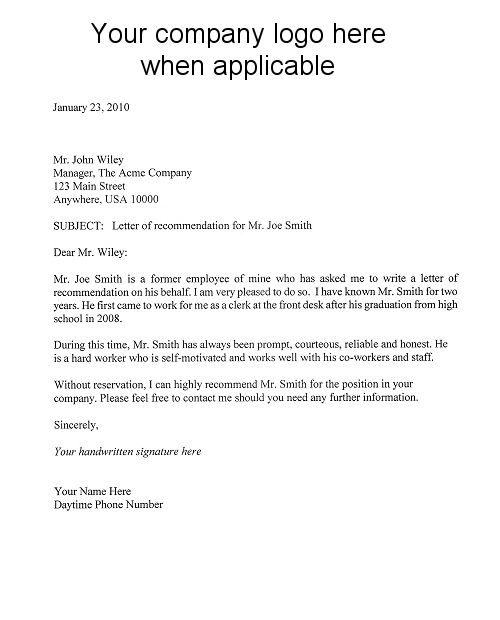 college application letter of recommendation template