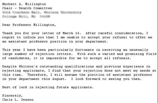unsuccessful job application thank you letter
