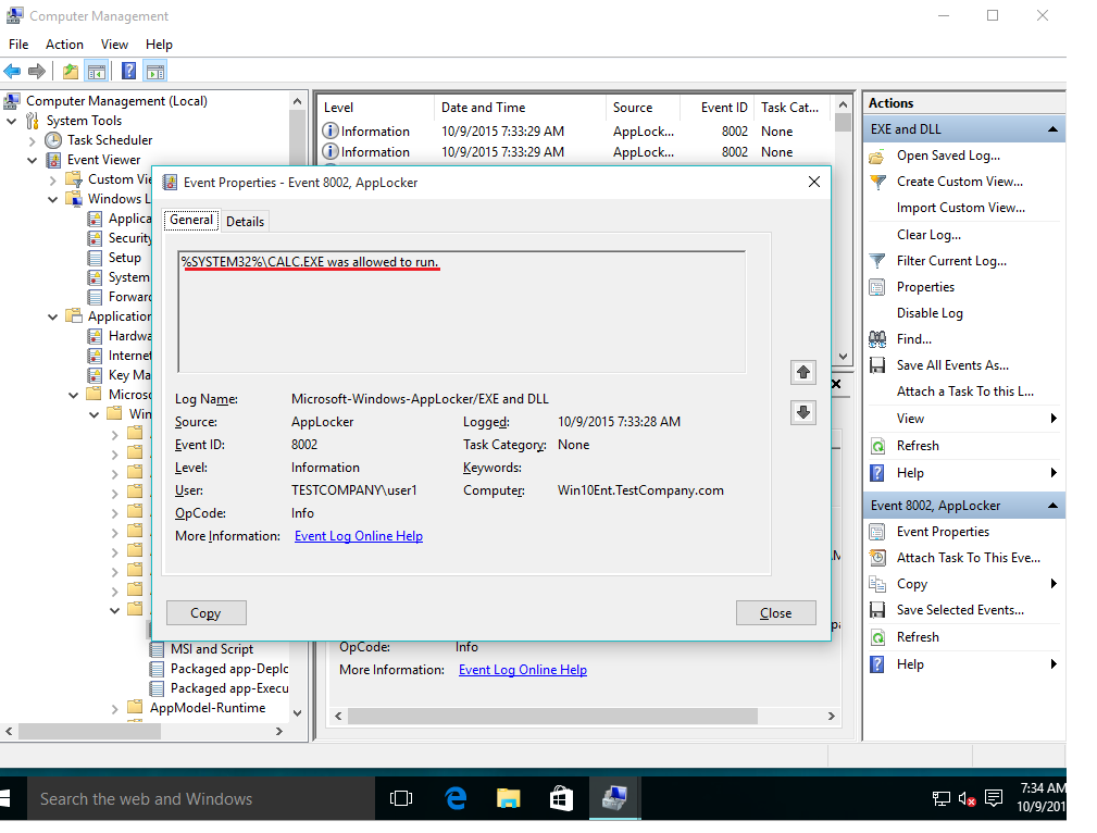 application event log windows 10