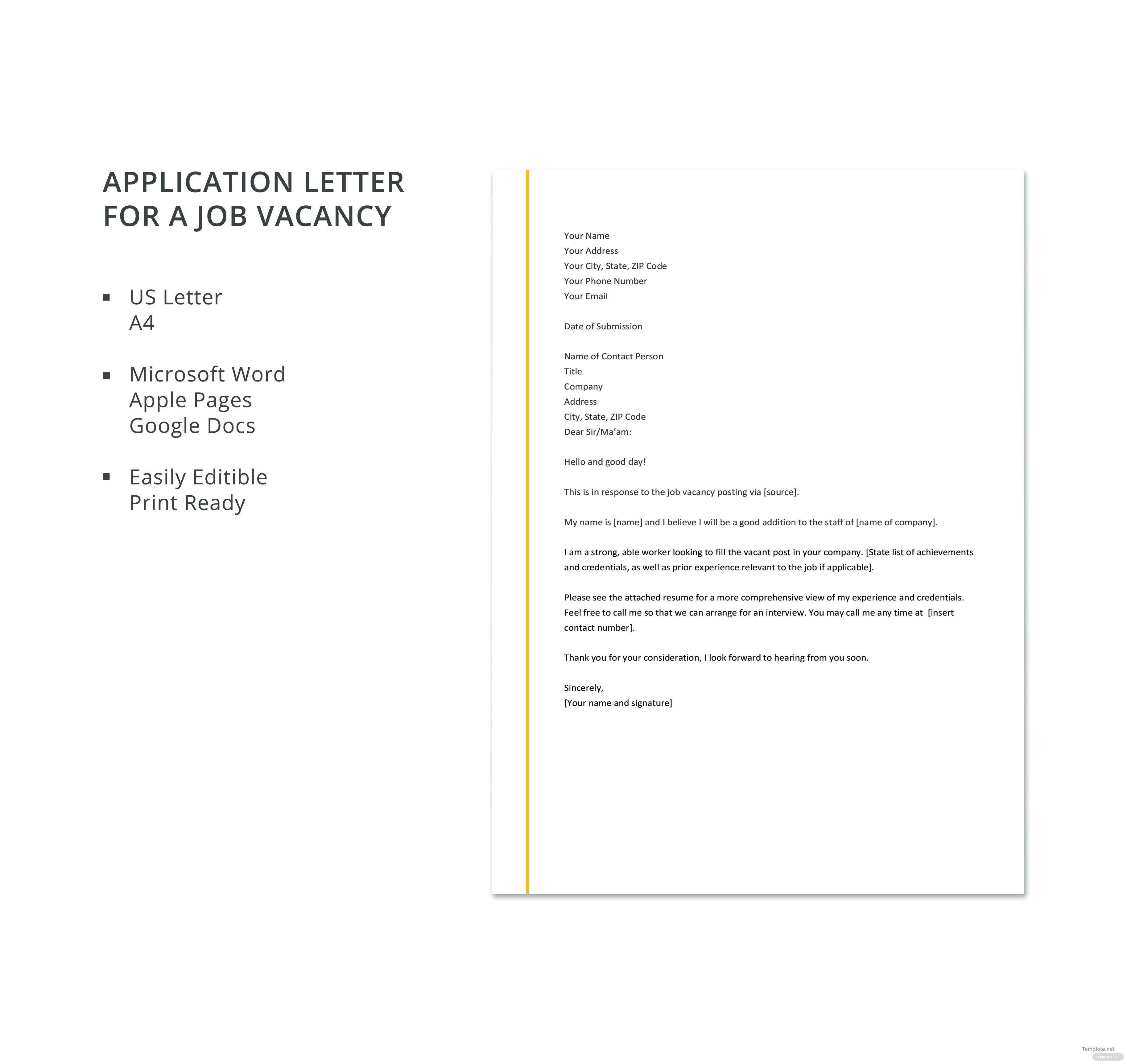 application letter format for job vacancy
