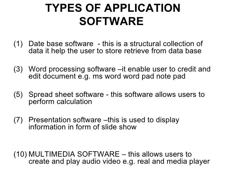 types of personal application software