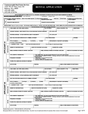 free house rental application form