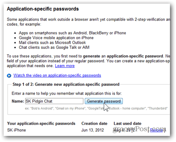 generate application specific password google