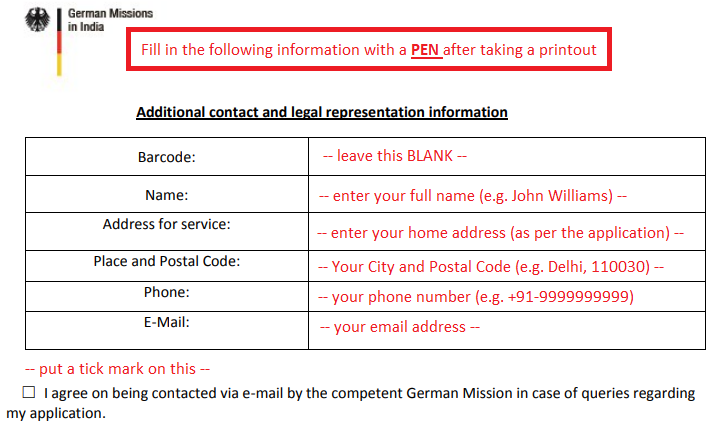 german schengen visa application form sample
