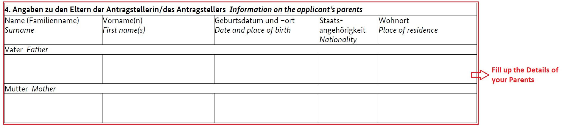 how to fill german national visa application form