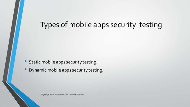 types of security testing in web applications